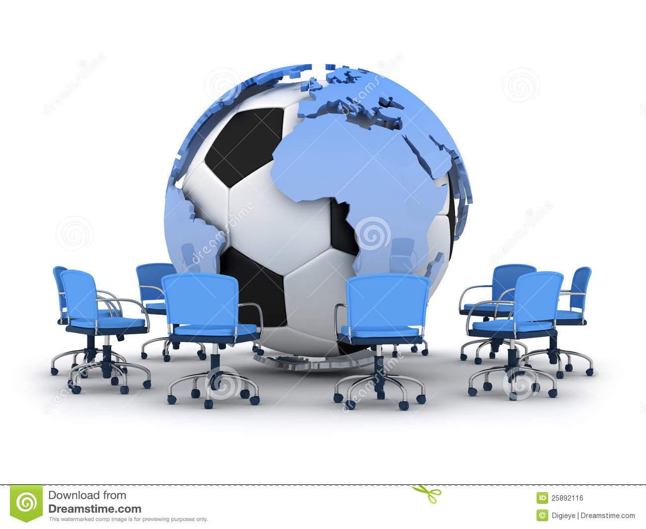 Soccer ball earth globe and office chairs