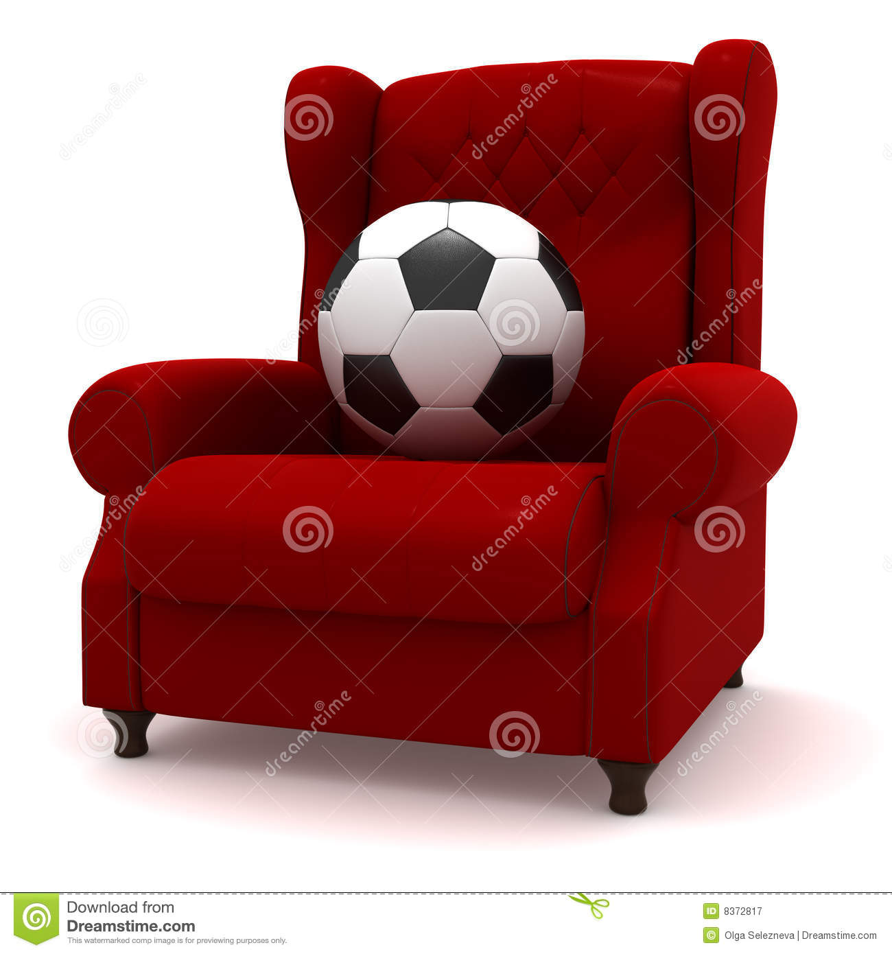 Soccer Ball In Easy Chair Royalty Free Stock Photography
