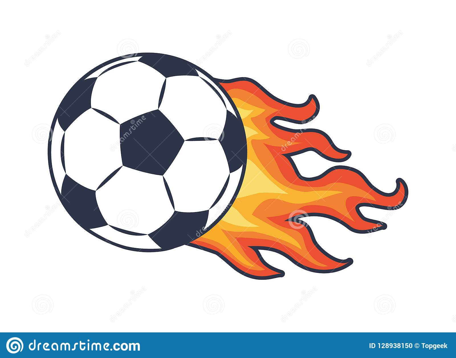Soccer ball with black and white panels leaving behind fire trace vector illustration for sport theme poster color football symbol isolated on white