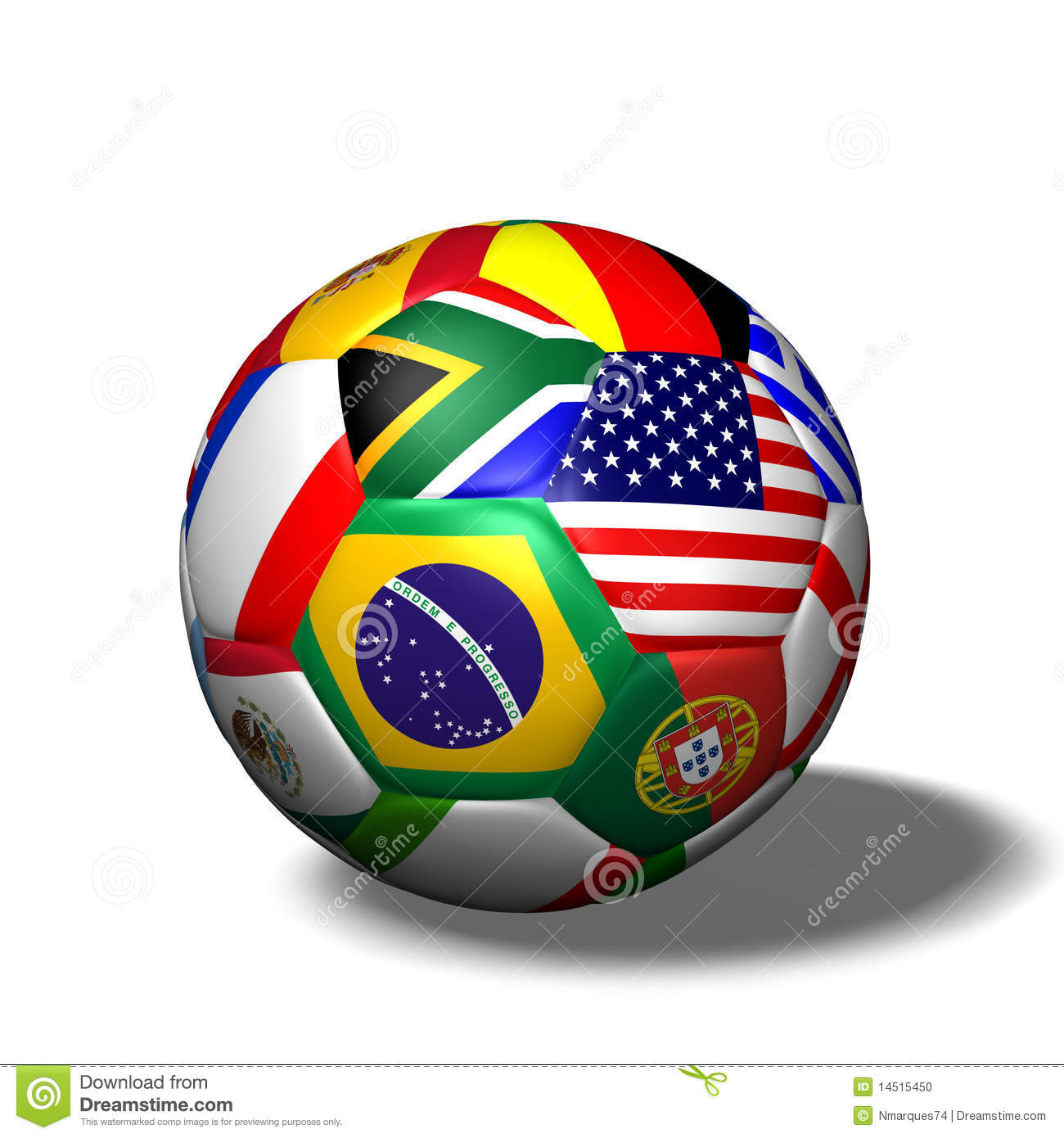 Soccer Ball Flags Stock Photo