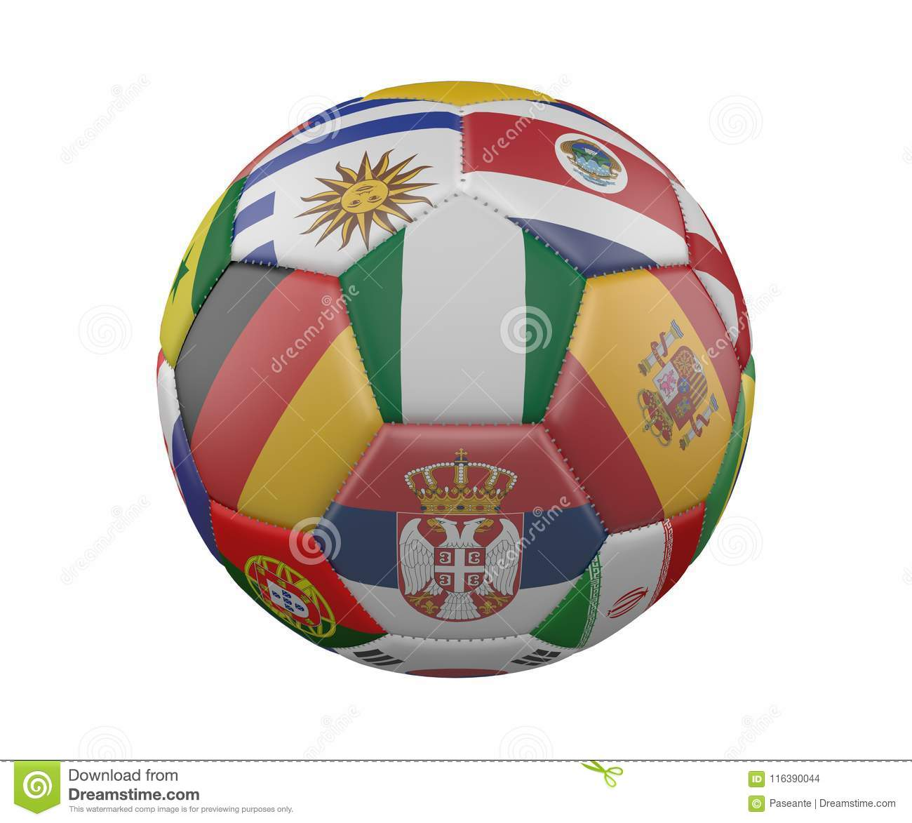 Soccer Ball with Flags isolated on white background, Nigeria in the center, 3d rendering.