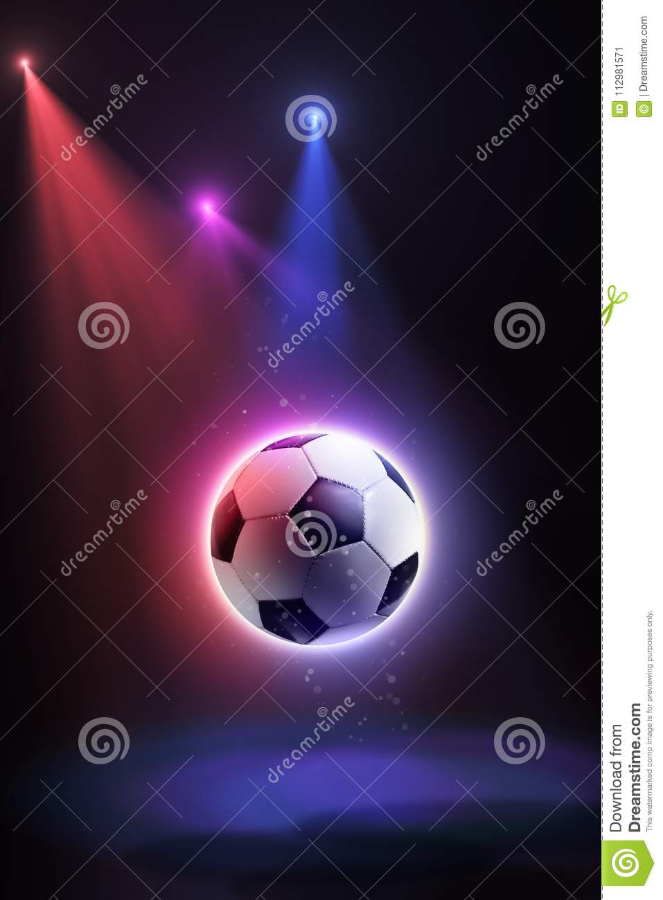 Soccer ball, floating in space and illuminated by the rays on an abstract background