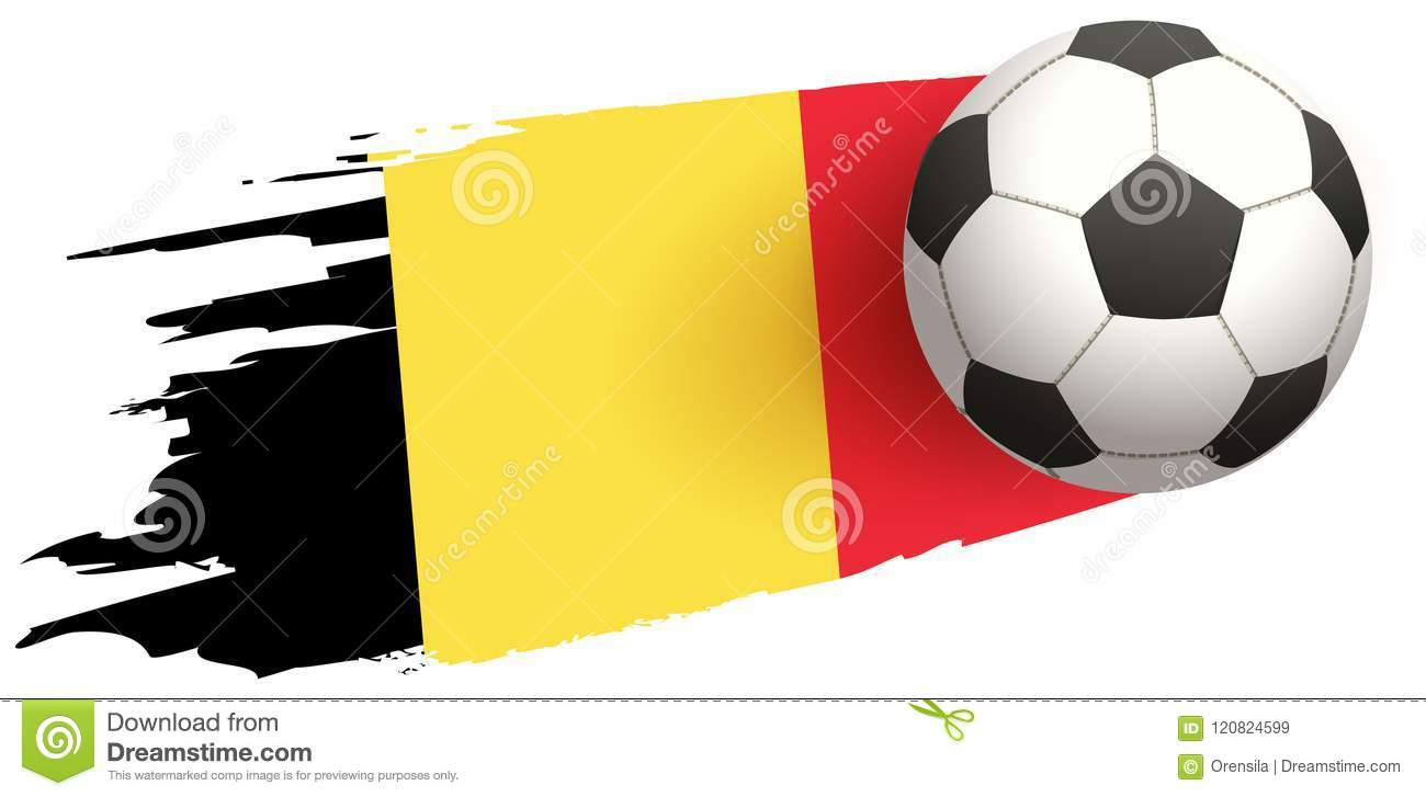 Soccer ball fly background of Belgian flag