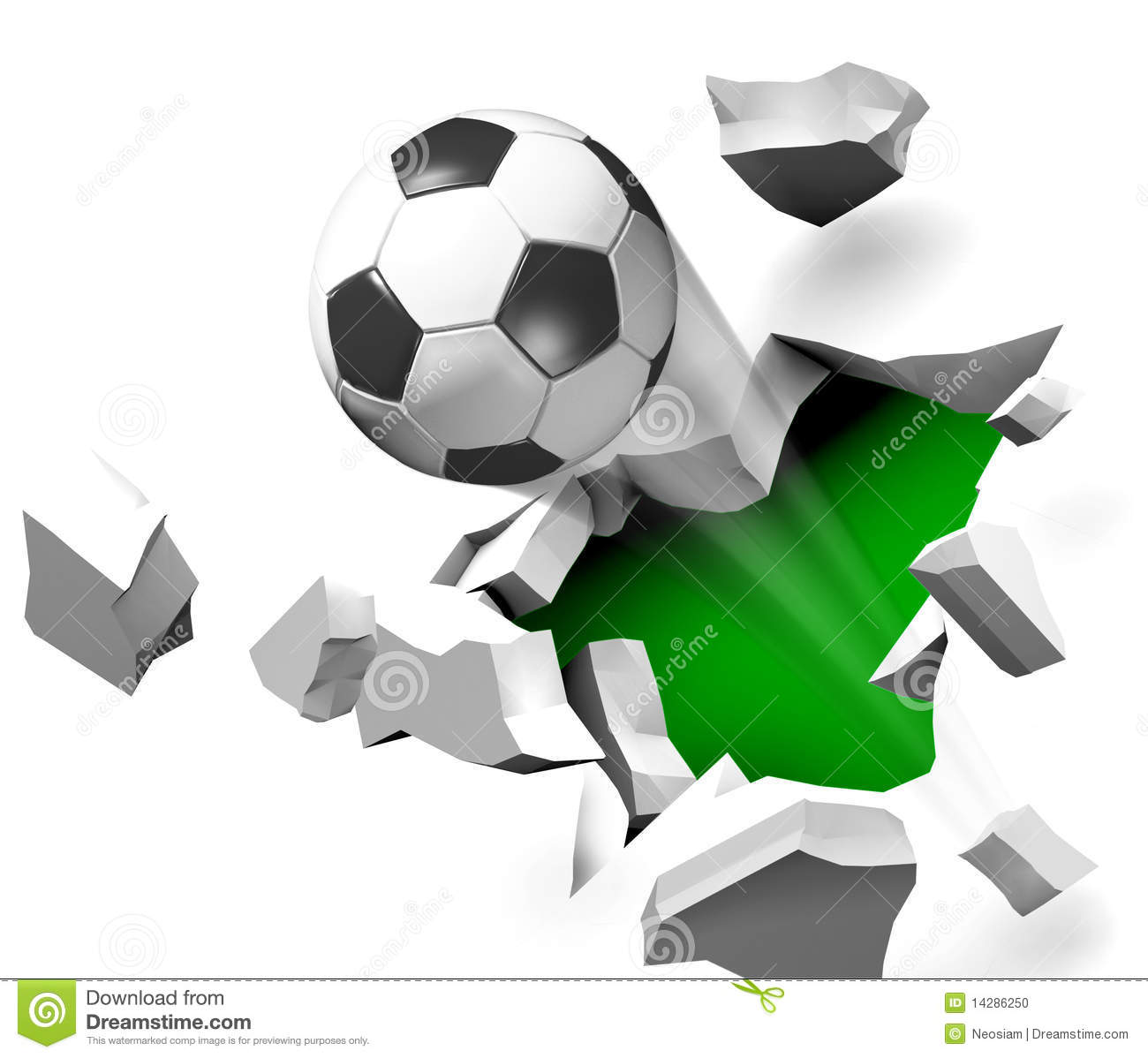 Graffiti Wall Sticker Soccer Ball Flying Through The Wall Stock Photo Image