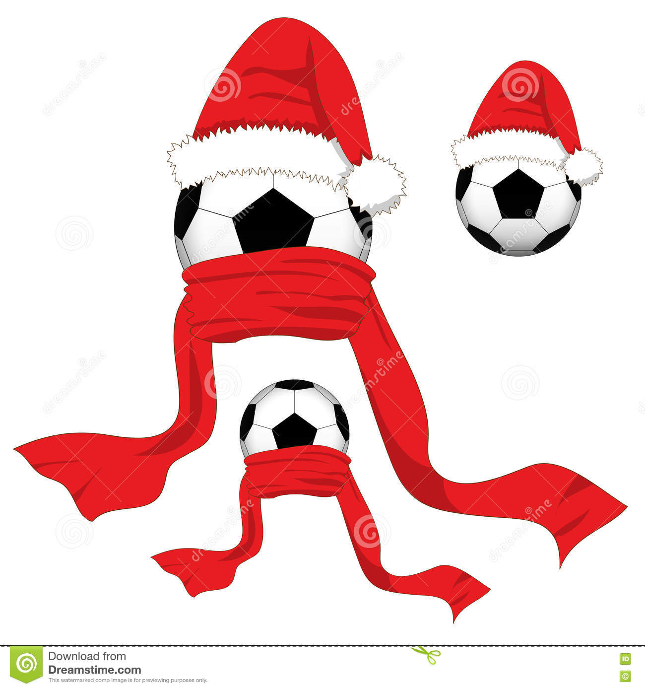 football ball with santa hat and red scarf christmas day vector - Football Christmas Eve