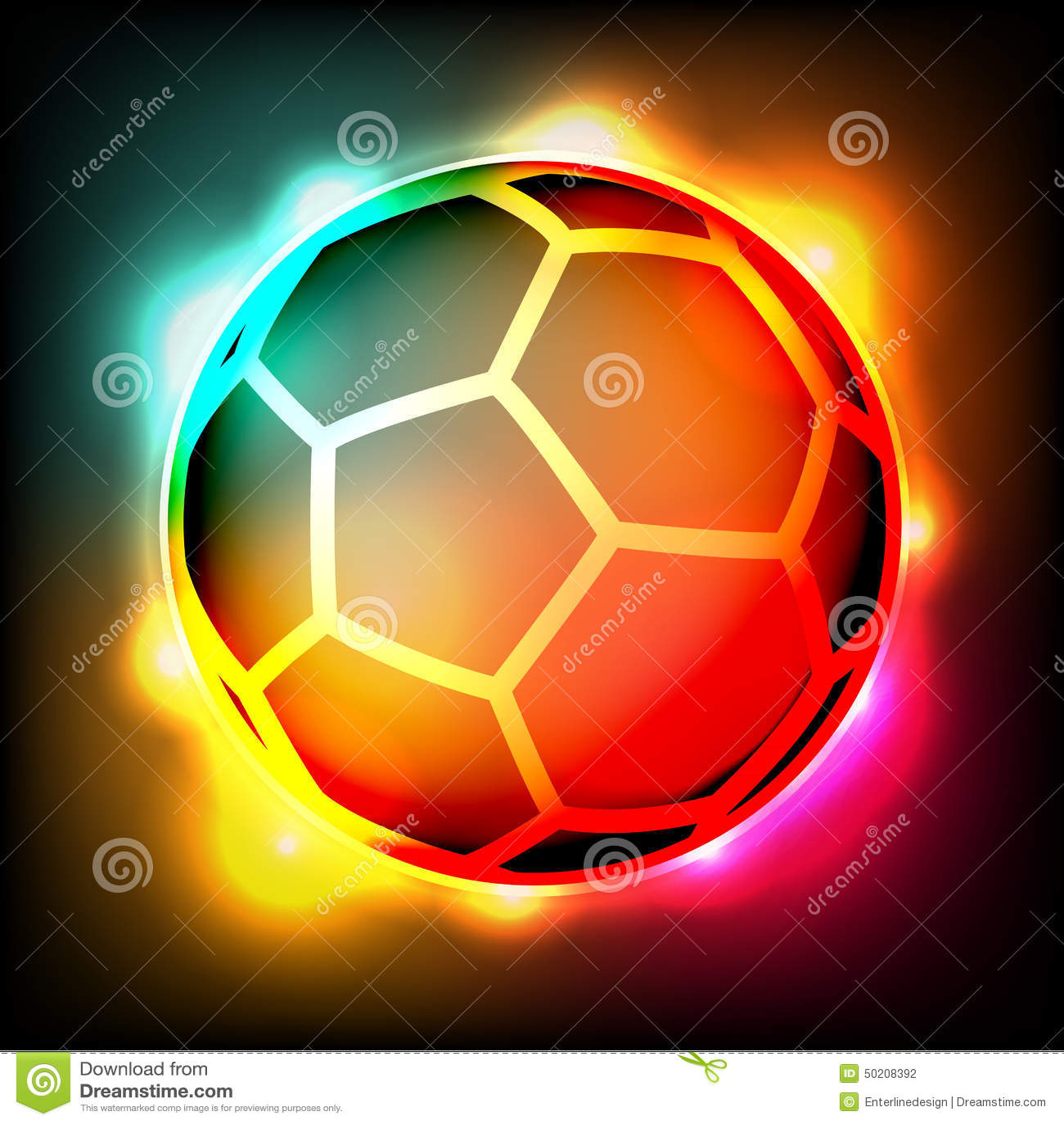 Soccer Ball Football Colorful Lights Illustration Stock Vector ...