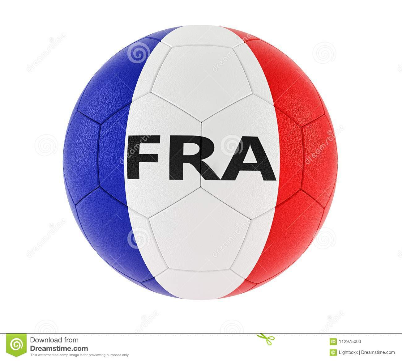 Soccer ball in french national colors
