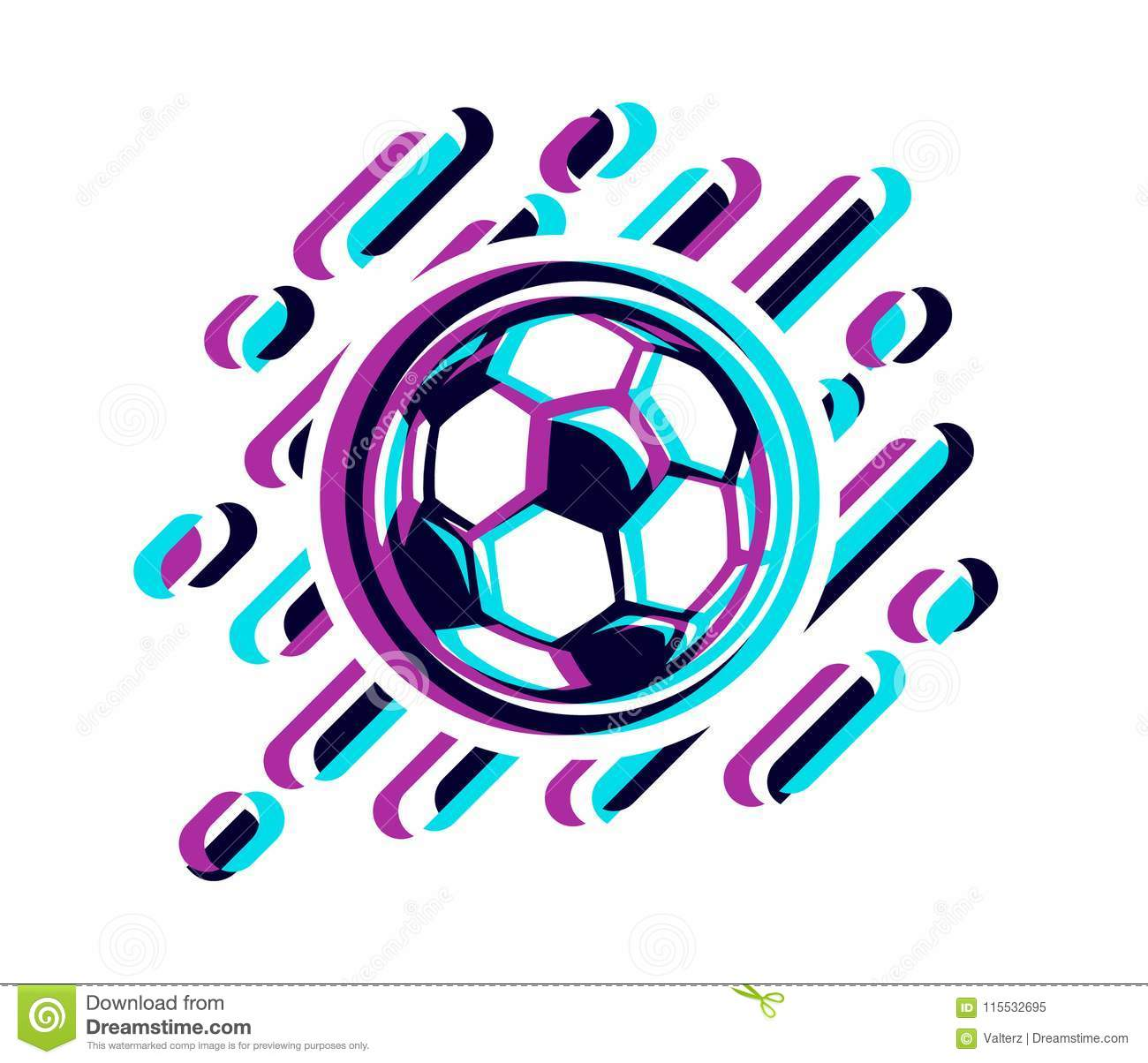 Soccer ball in a glitch effect vector illustration isolated on white. Football ball in a glitch effect
