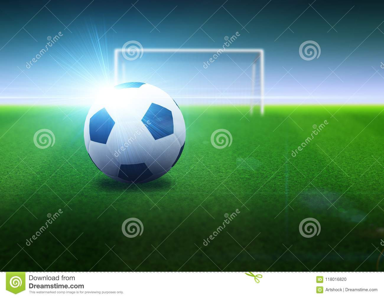 Soccer ball and goal on field