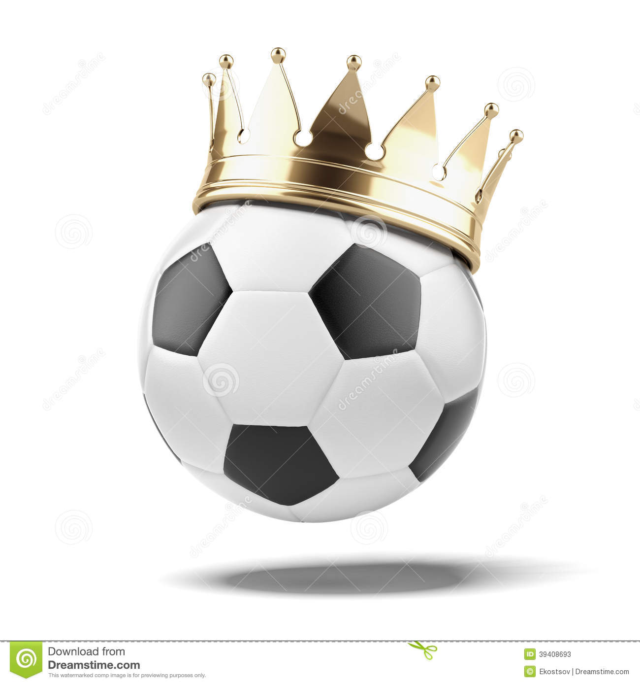Soccer ball with a golden crown isolated on a white background. 3d ...