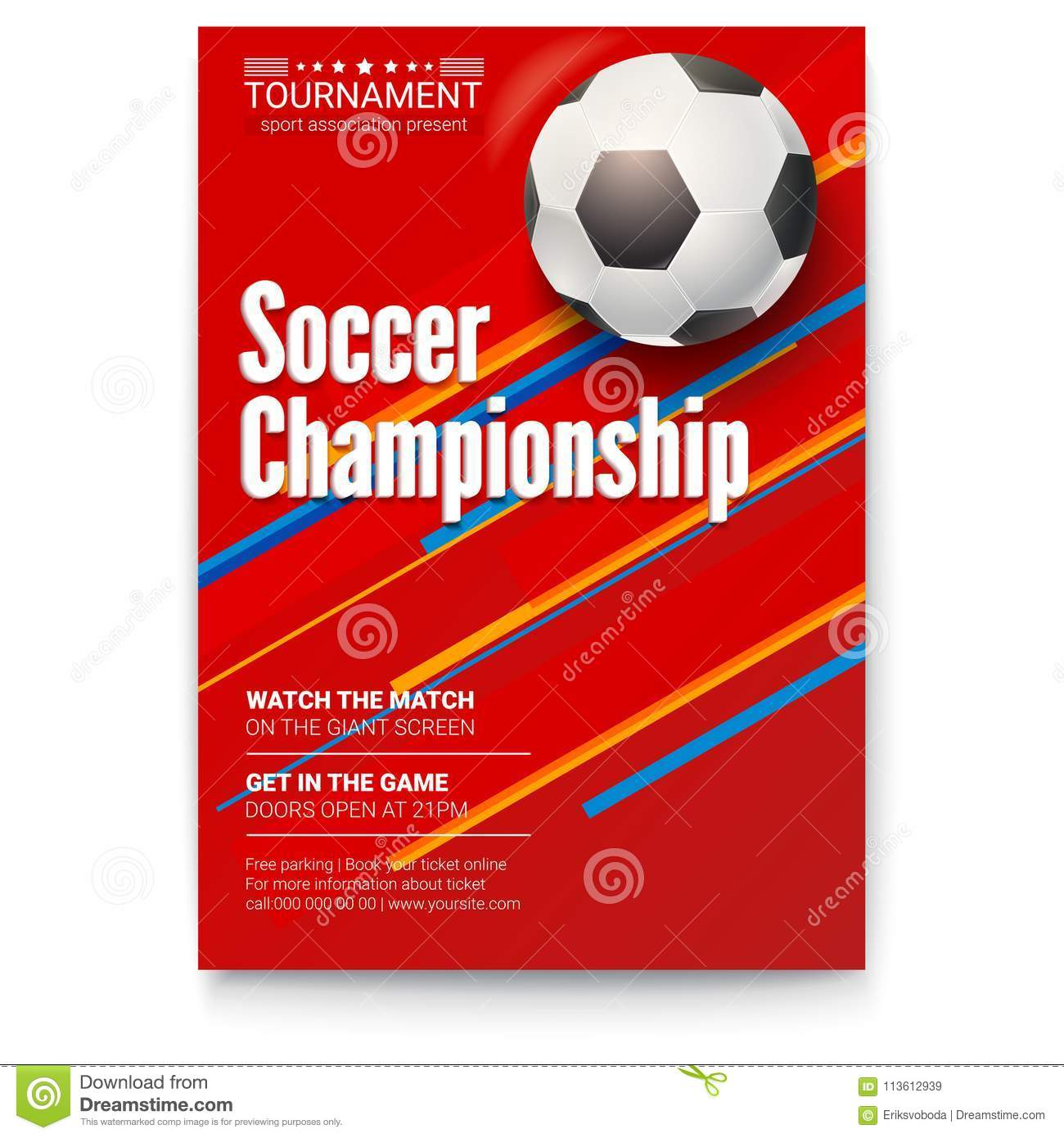 Soccer Ball On Graphics Background Poster Of Tournament Football League Design Of Banner For Sport Events Template Of Stock Vector Illustration Of Design Football 113612939