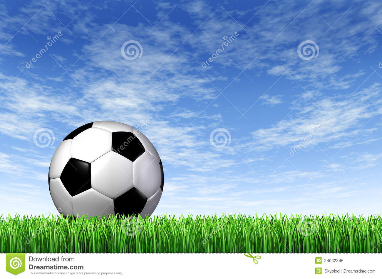 Soccer Football On Green Field With Blue Sky Background: Soccer Ball And Grass Field Background Royalty Free Stock