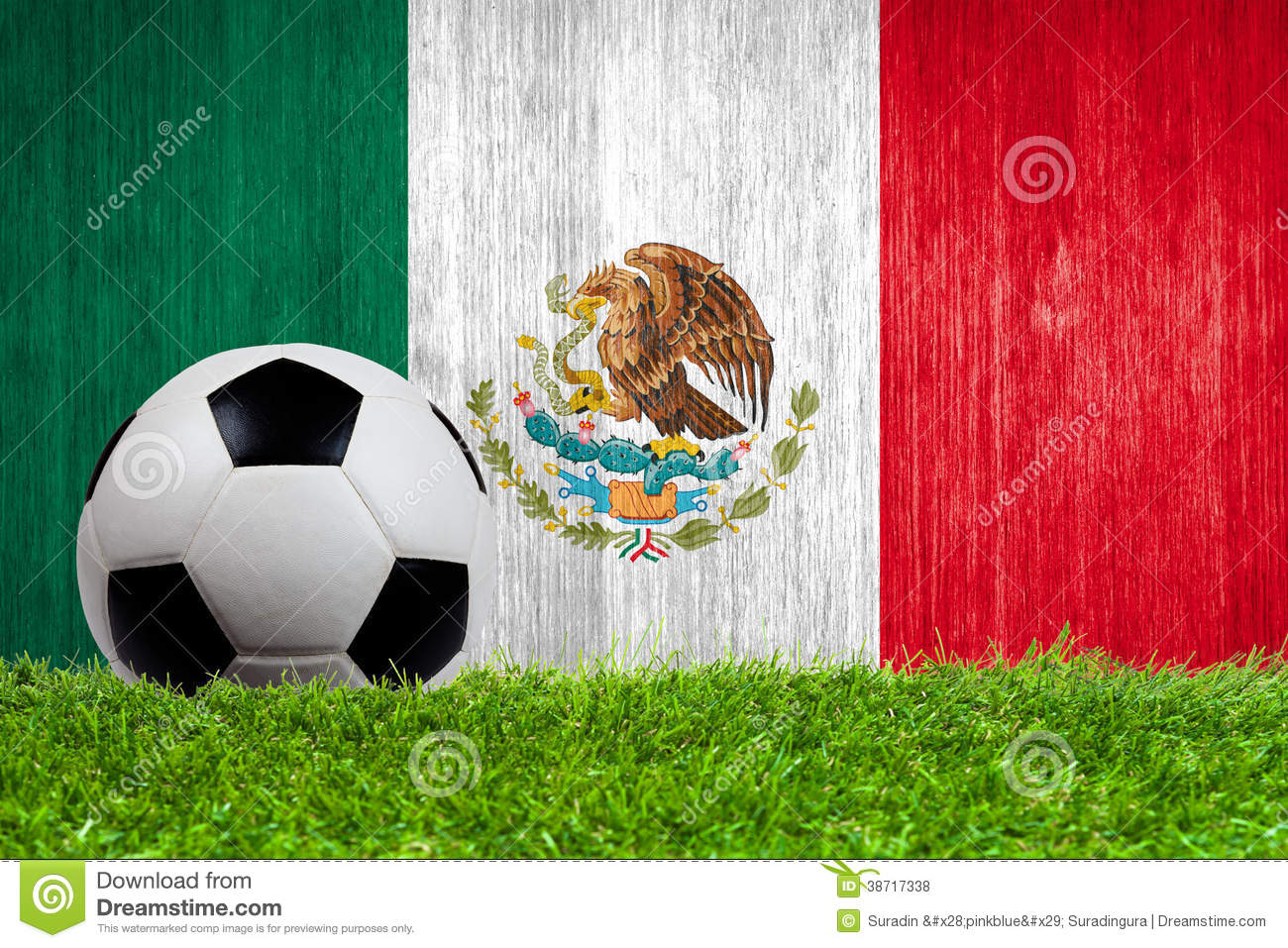 soccer ball on grass with mexico flag background royalty