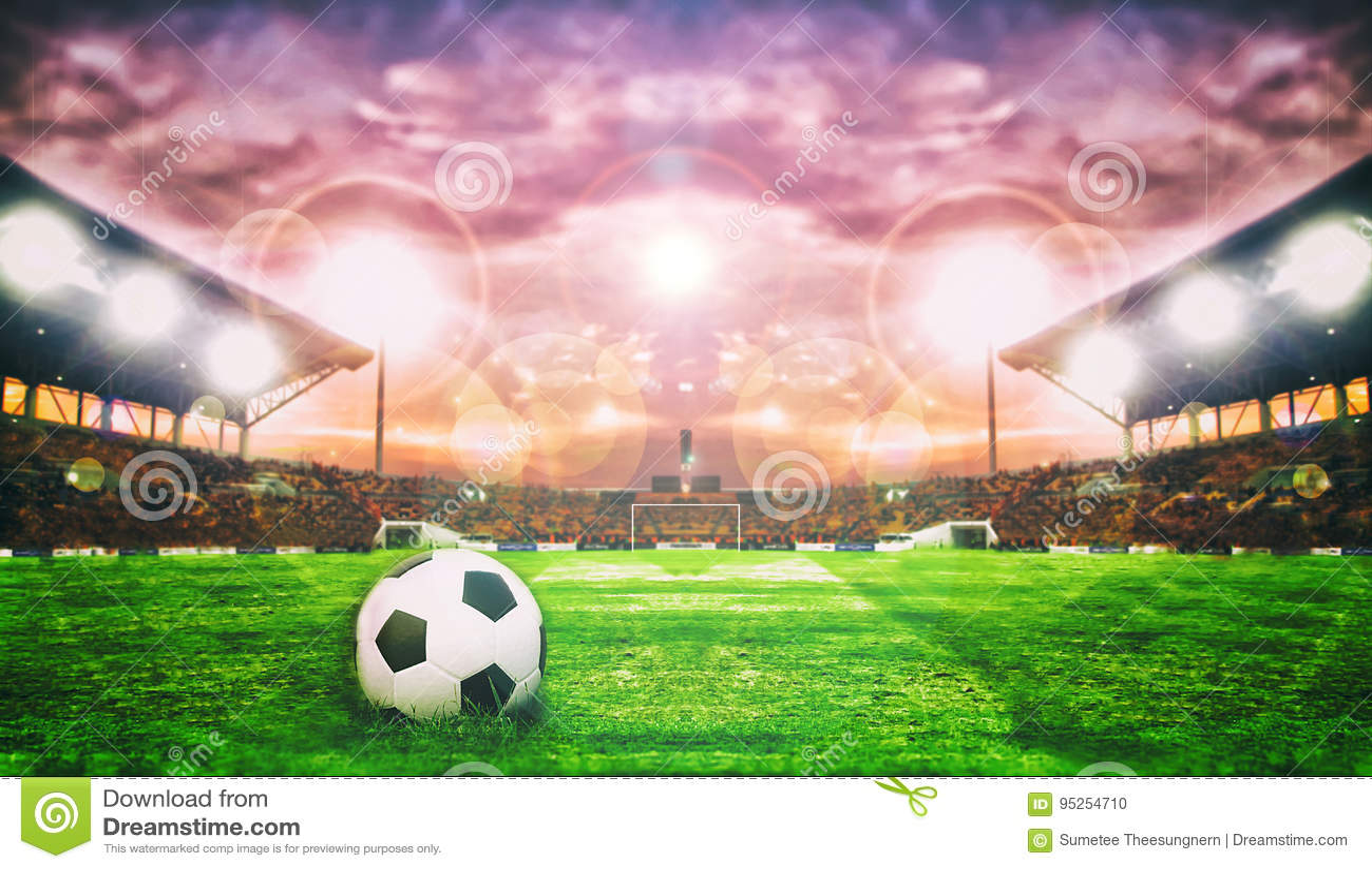 Soccer Ball On Green Field of football stadium for background