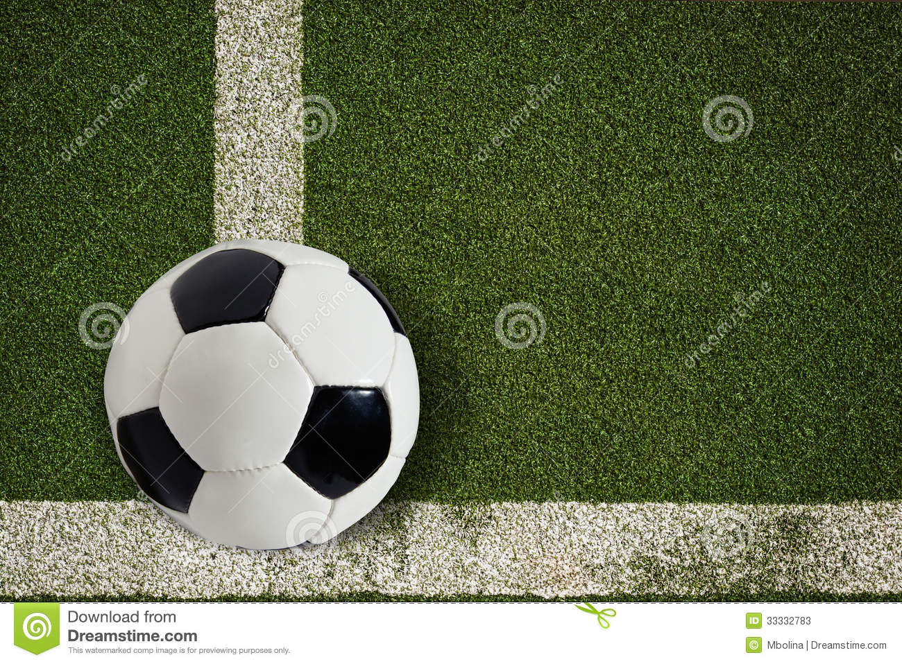 soccer ball on green field stock image  image of black
