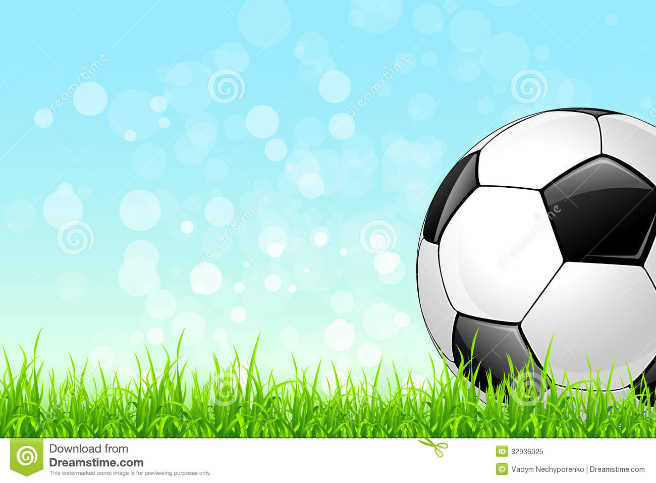 Soccer Football On Green Field With Blue Sky Background: Soccer Ball On Green Grass Background Royalty Free Stock