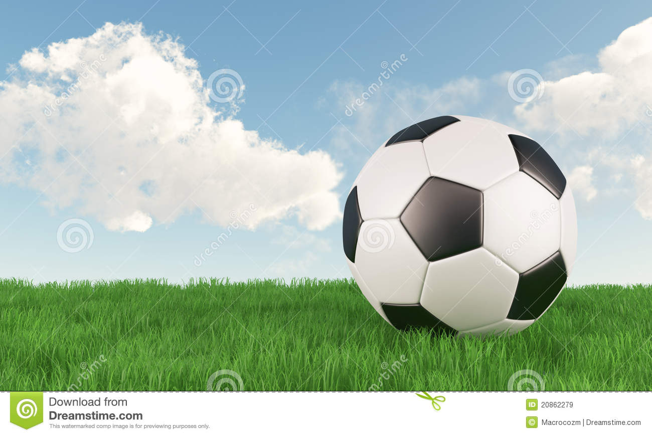 Soccer Football On Green Field With Blue Sky Background: Soccer Ball On Green Grass Field With Blue Sky Stock Image