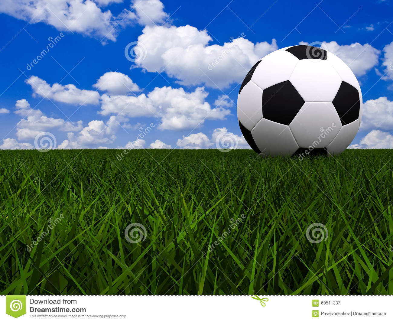 Soccer Football On Green Field With Blue Sky Background: Soccer Ball On Green Grass Stock Illustration