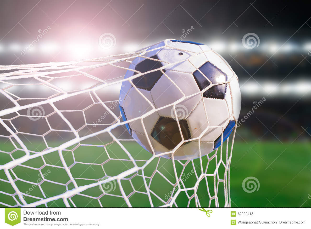The Soccer Ball Hit Into The Net: Soccer Ball Hit The Net Stock Photo