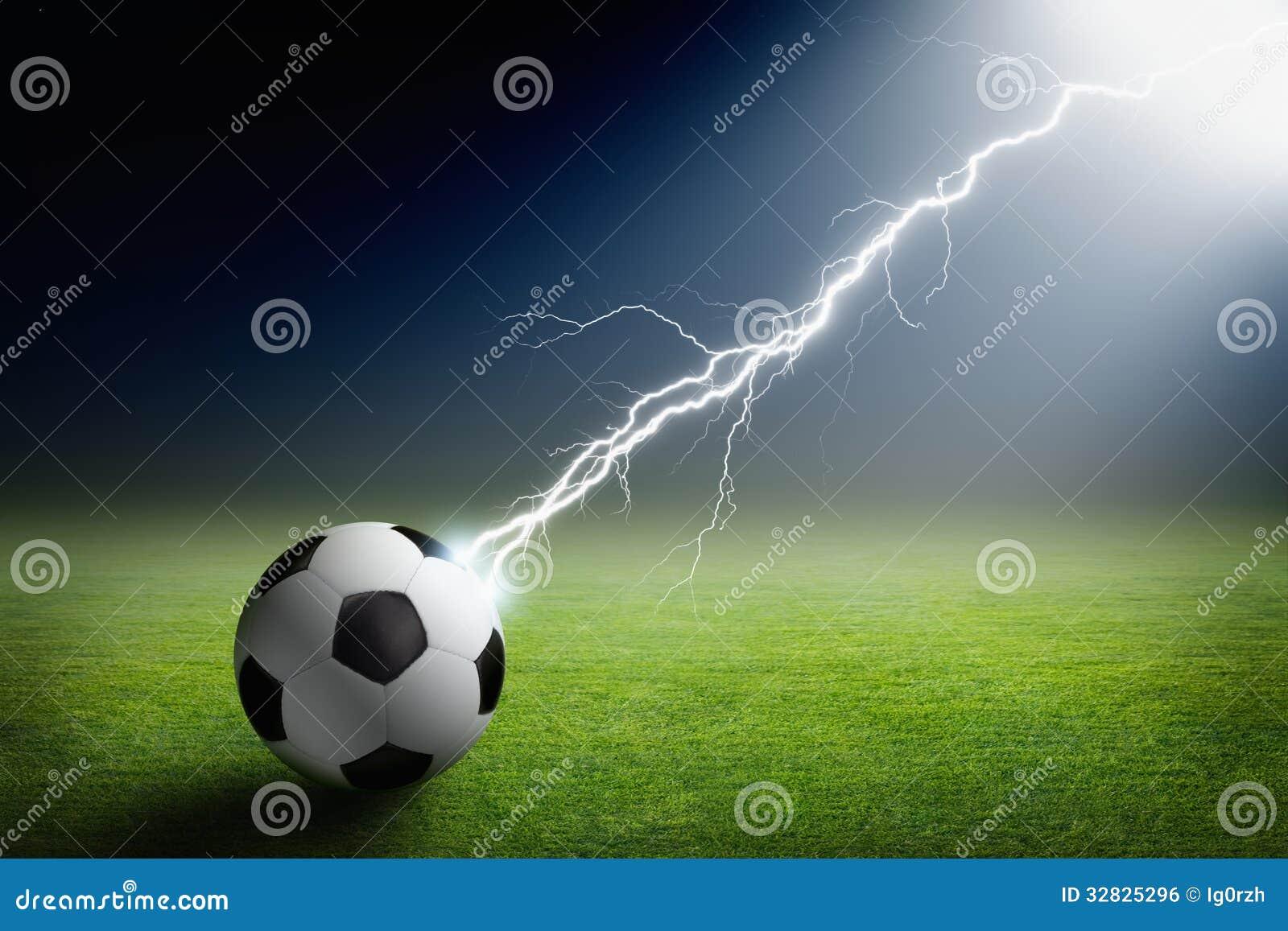 Soccer Ball Lightning Spotlight Stock Photo Image Of