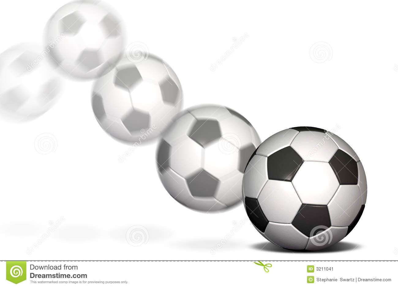 Soccer ball on a white background with a motion blur.