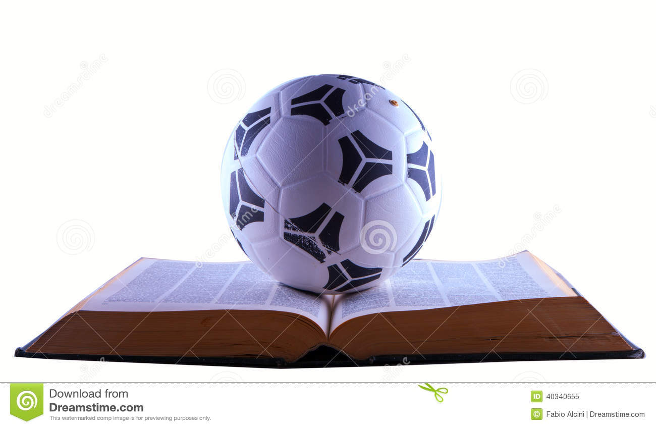 Soccer Ball Over Book Stock Image Image Of Study School