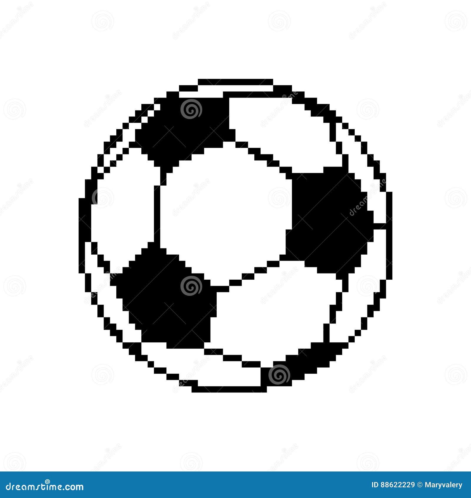 Soccer Ball Pixel Art Football Pixelated Isolated On White