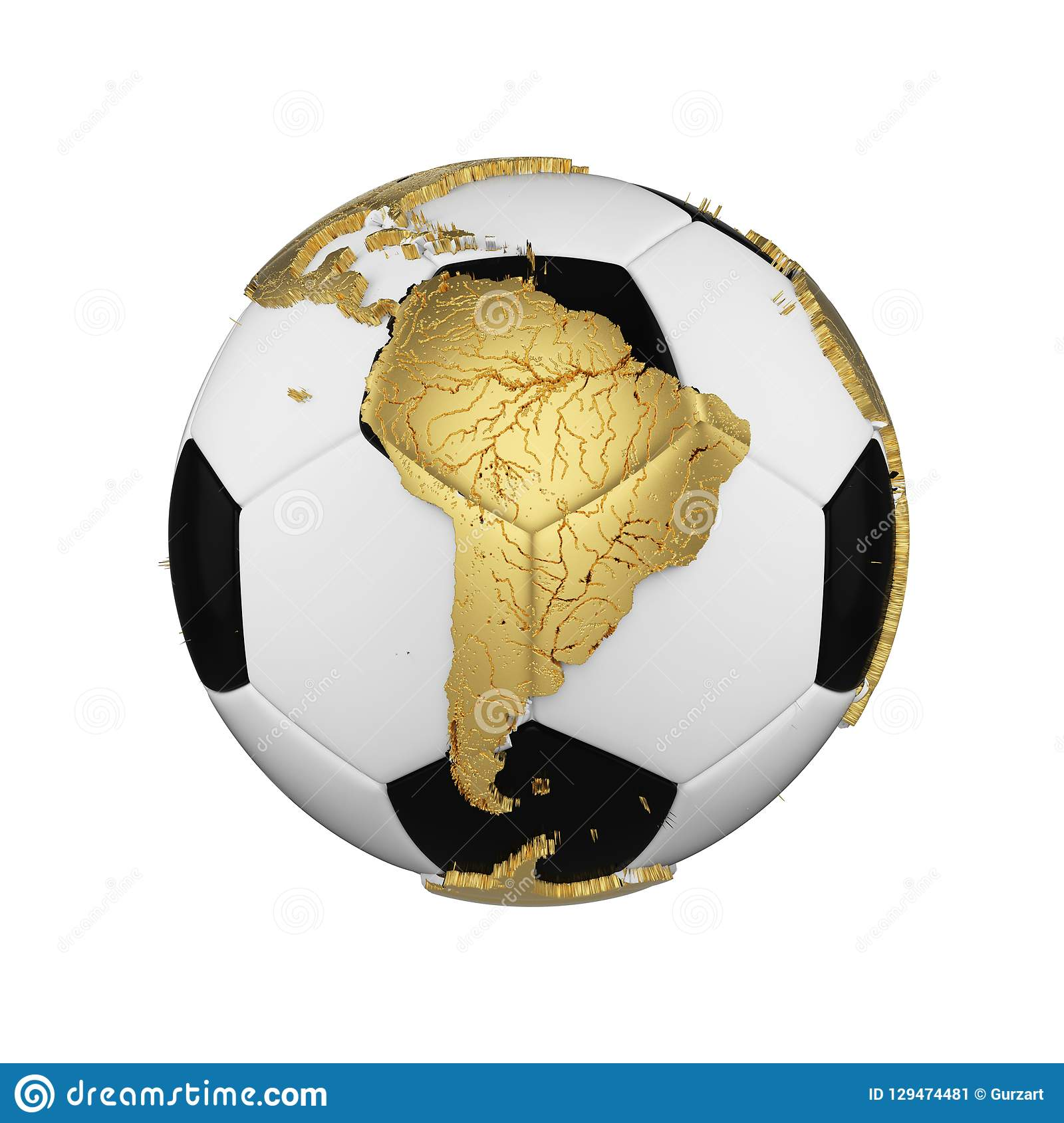Adreano soccer ball with planet earth globe concept isolated on