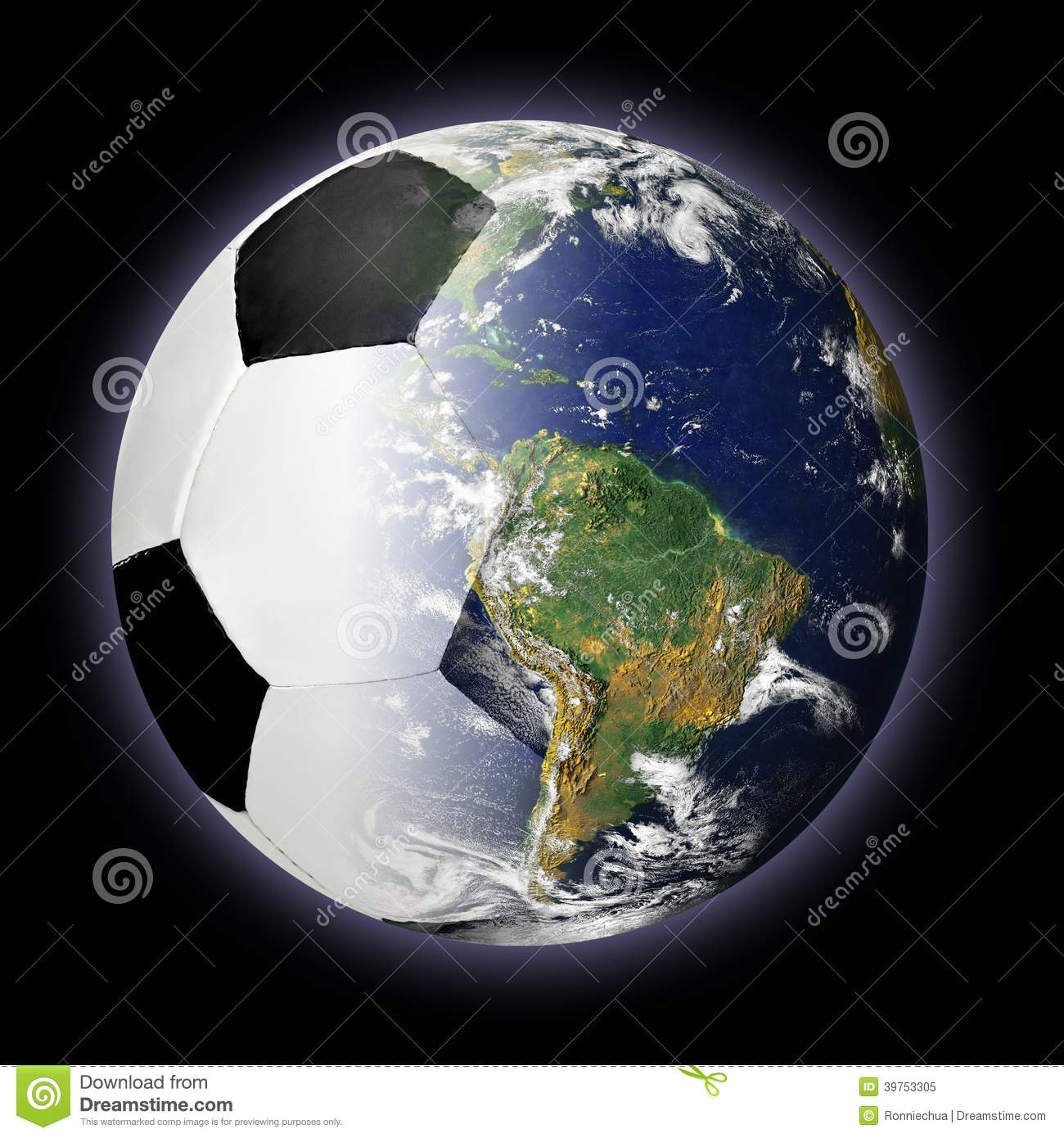 soccer ball and planet earth merged together stock image
