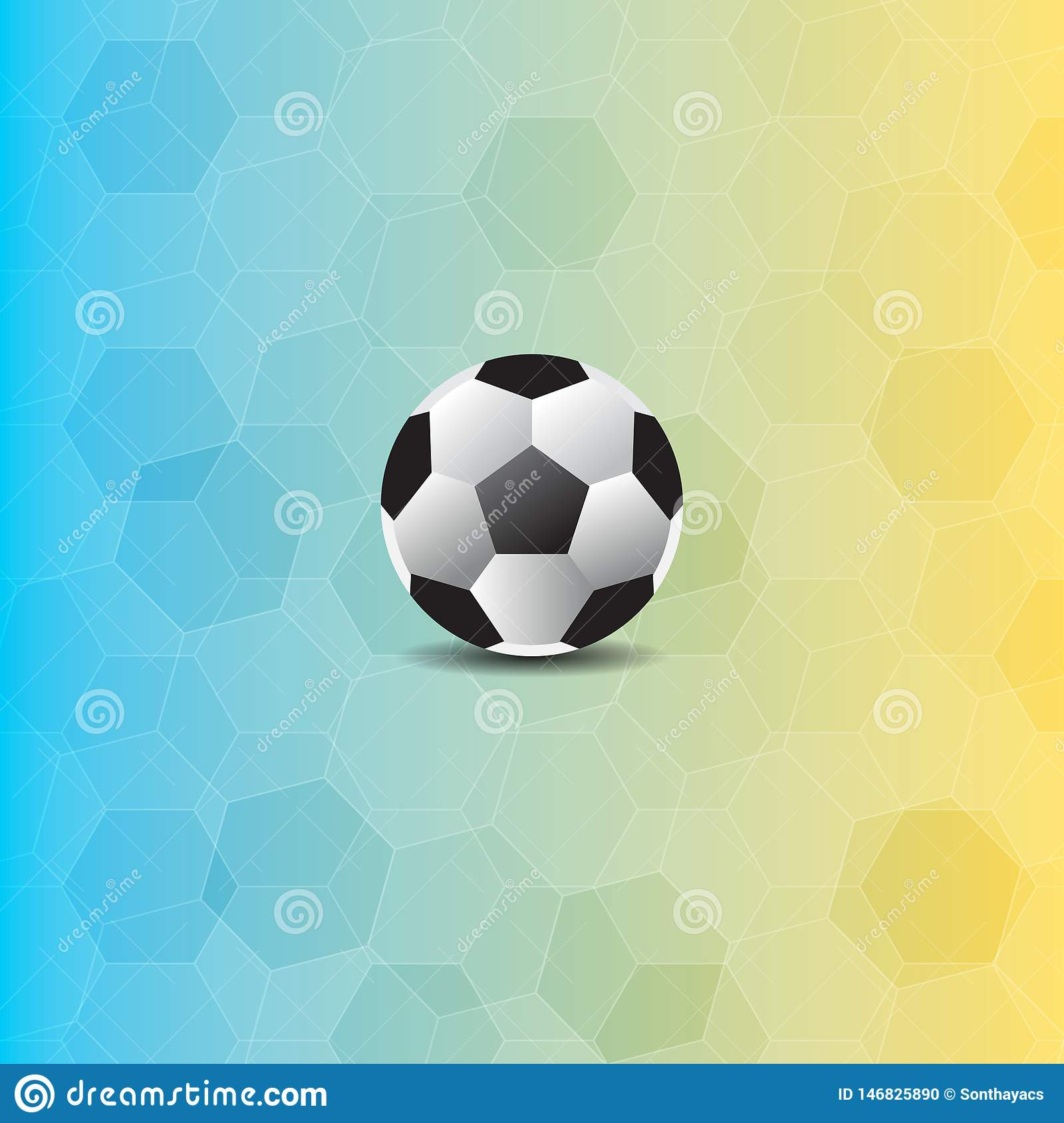Soccer ball in polygon background