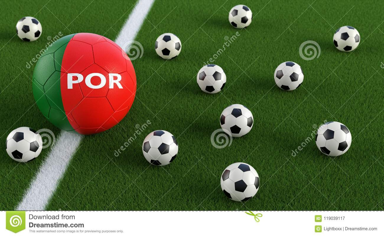 Soccer Ball In Portugals National Colors On A Soccer Field. Stock Illustration - Illustration of ...