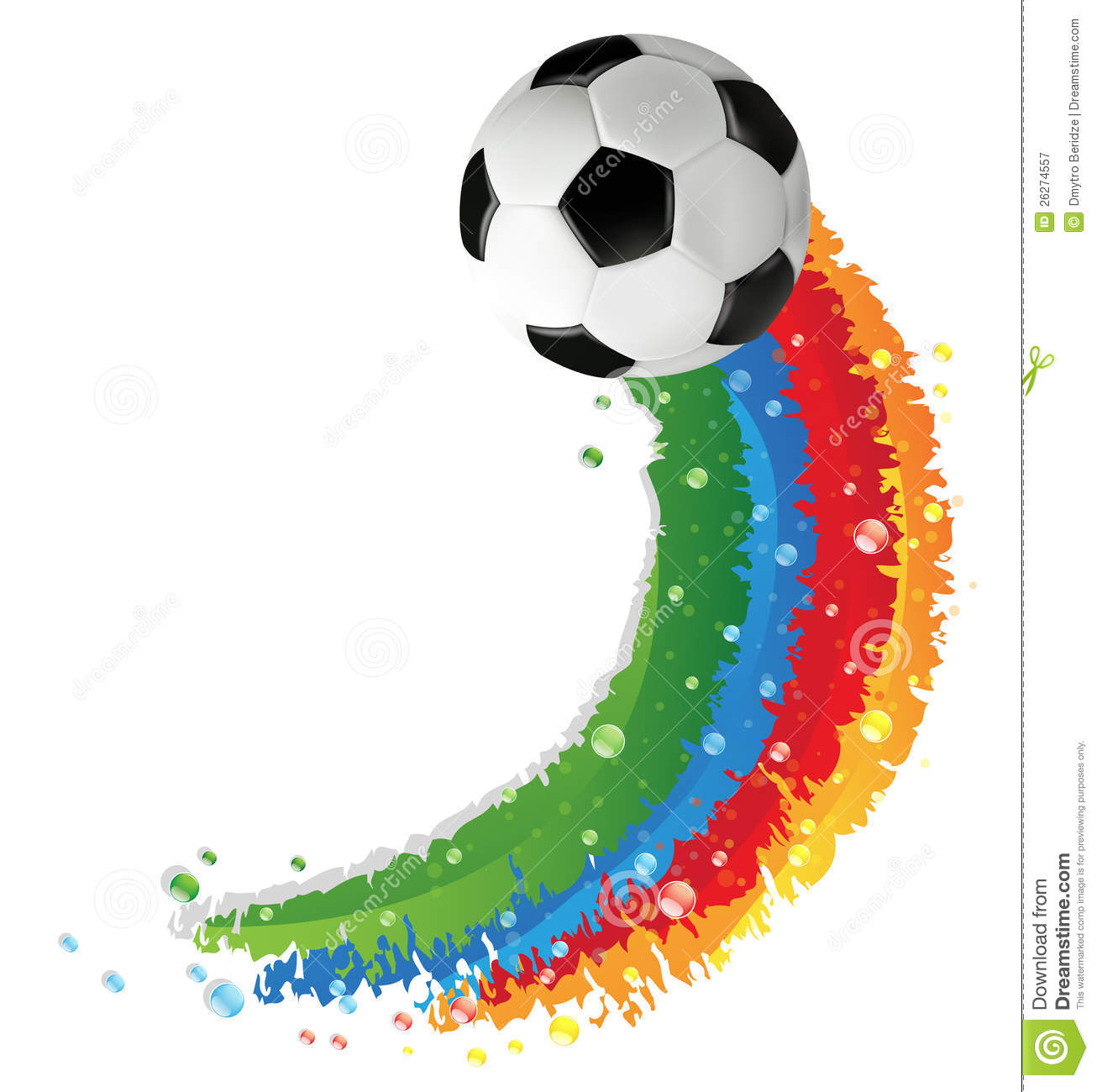 Soccer ball and rainbow trail royalty free stock for Painting games com