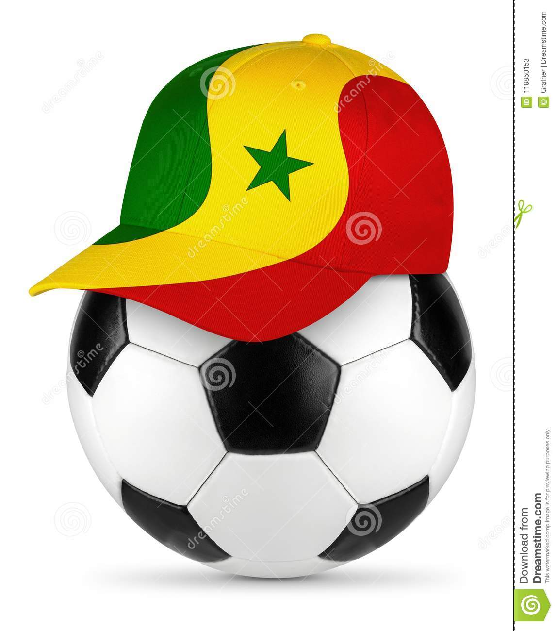 386c164d4c3 Classic black white leather soccer ball senegal Senegalese flag baseball  fan cap isolated background sport football concept