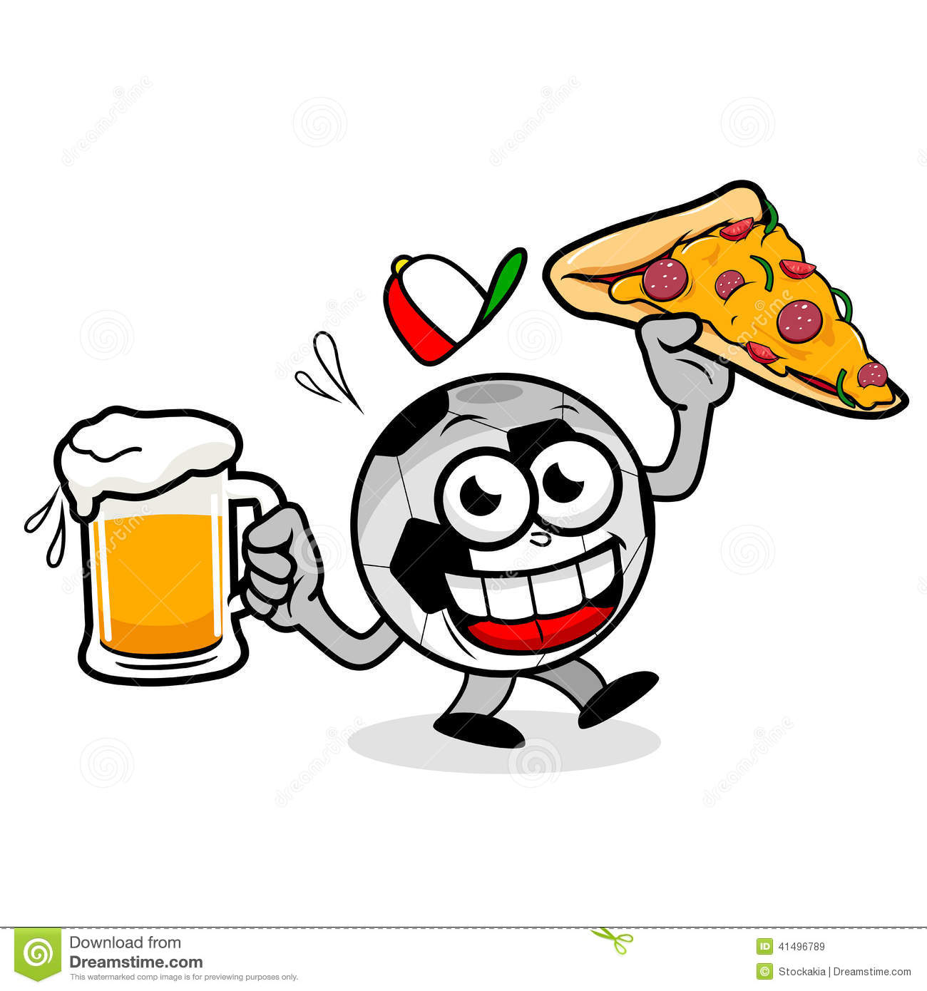 Soccer Ball Serving Beer And Pizza Stock Vector ...