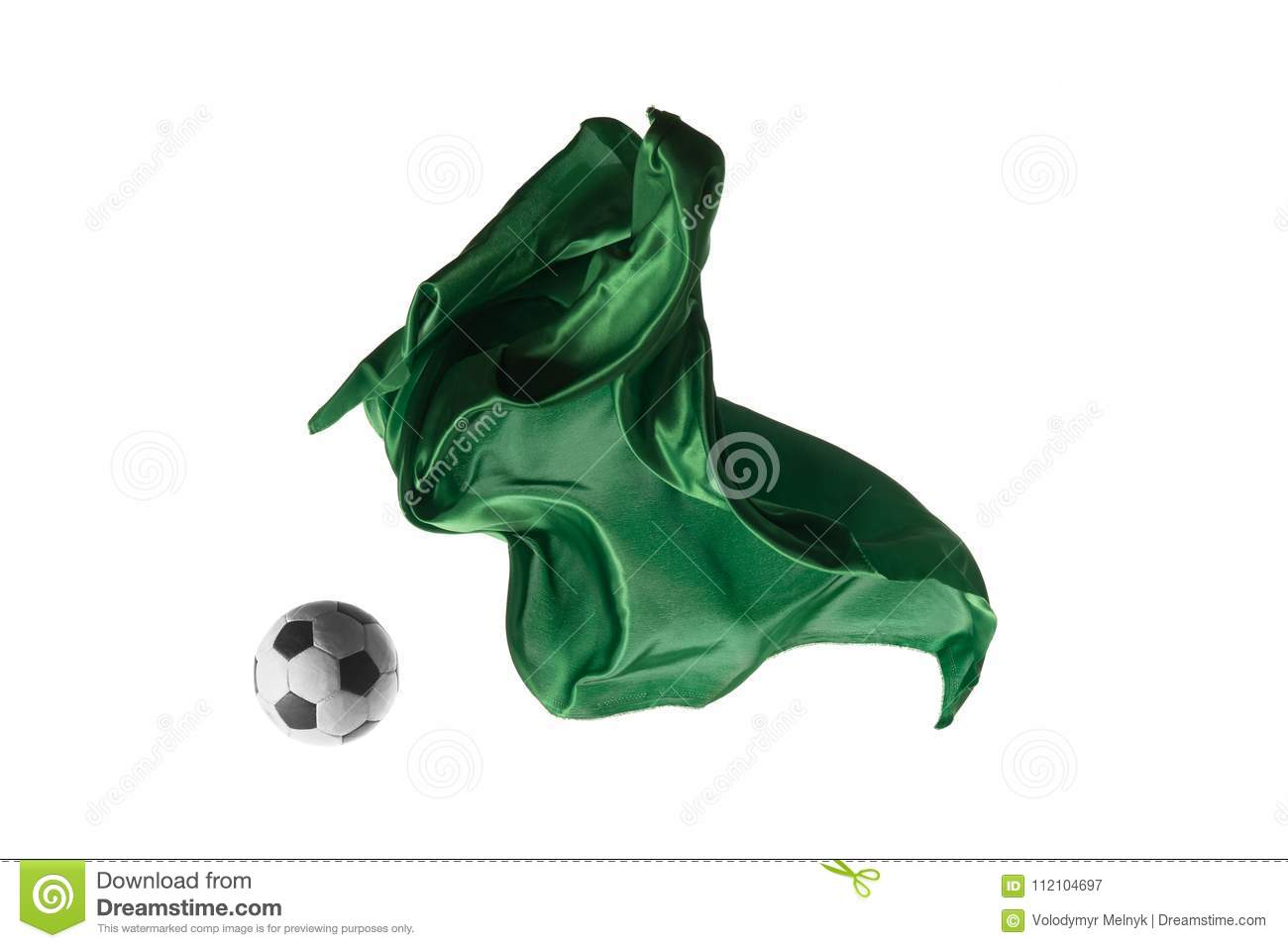 Soccer ball and Smooth elegant transparent green cloth isolated or separated on white studio background.