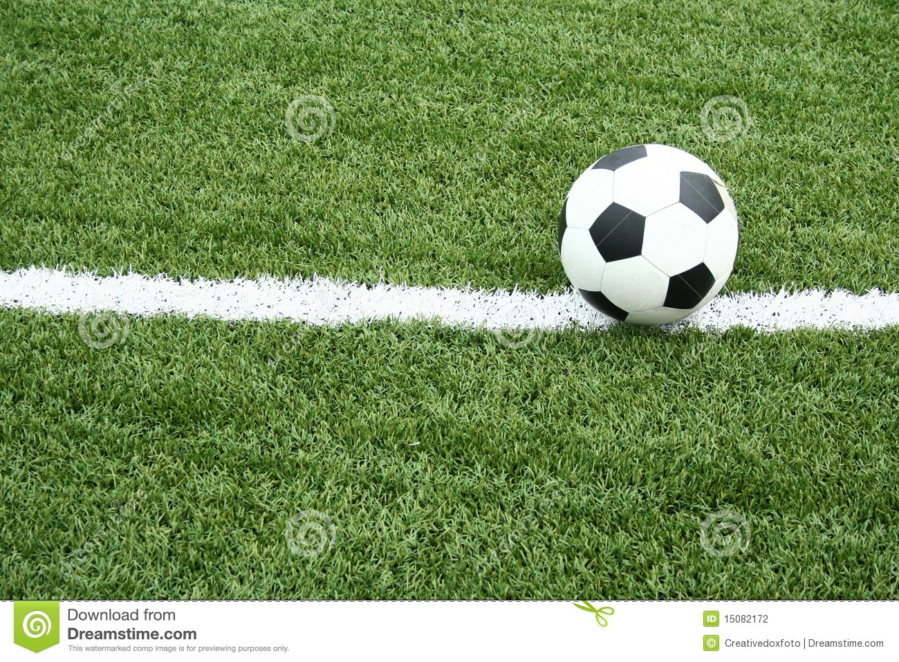 Soccer Ball On Soccer Field With Curve Line Stock Photo ...