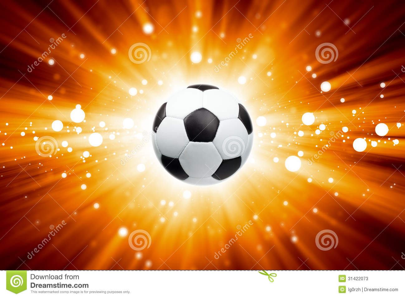 Abstract Sports Background Royalty Free Stock Image: Soccer Ball, Spotlights Stock Photos