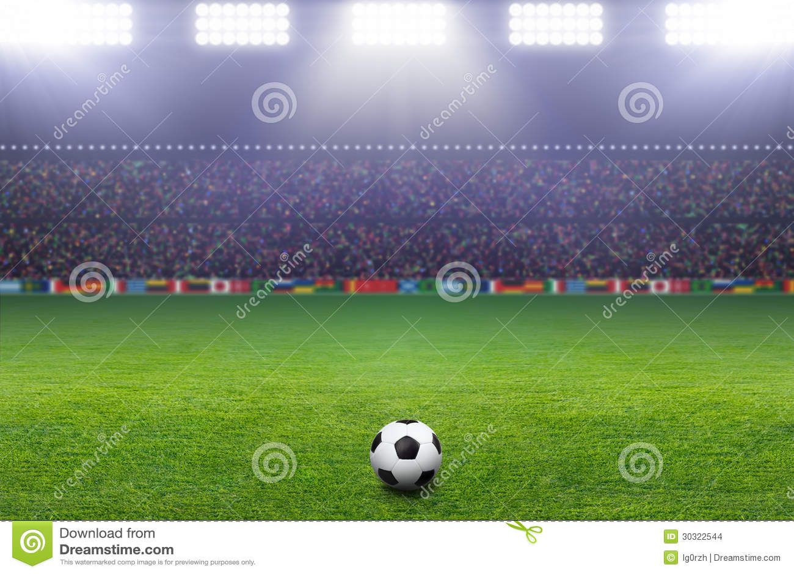Soccer ball, stadium, light
