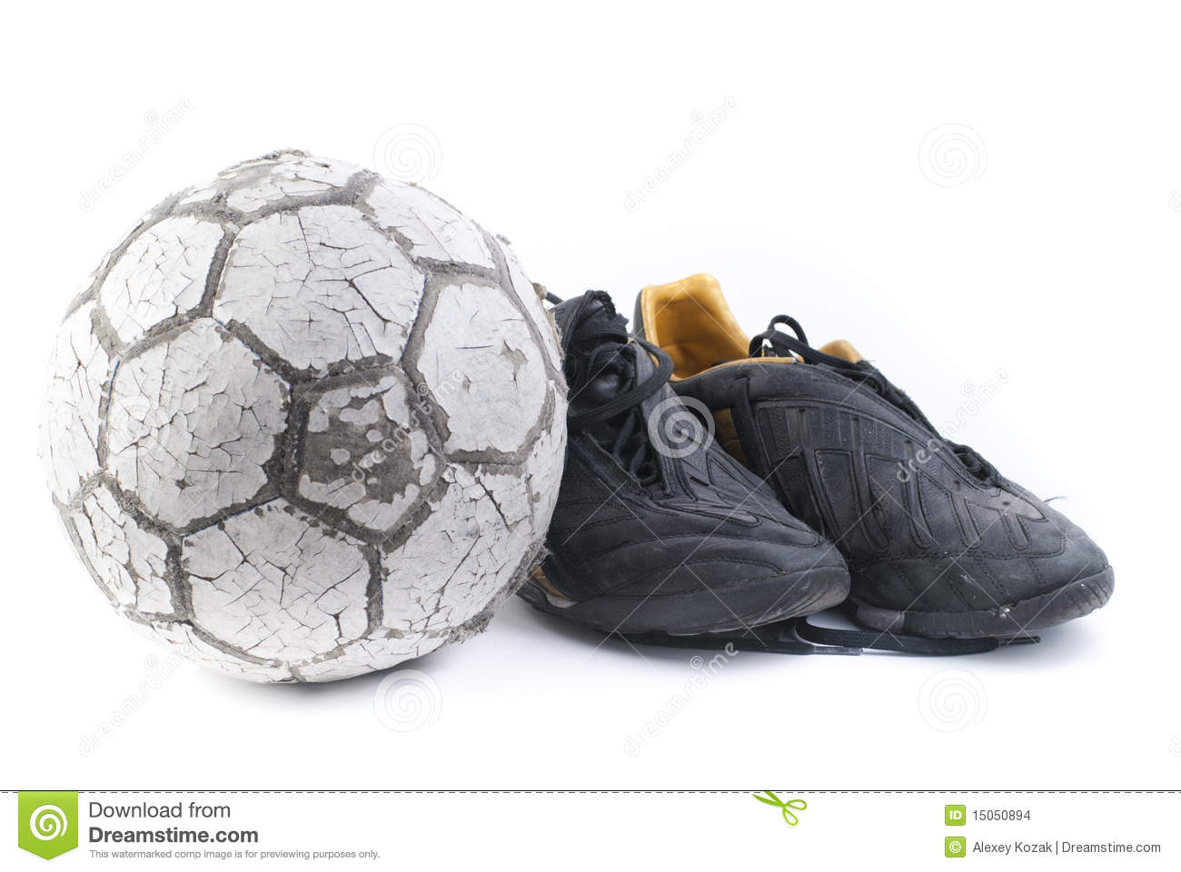 73dea46d4 Soccer Ball With Two Old Black Shoes Stock Photo - Image of athletic ...