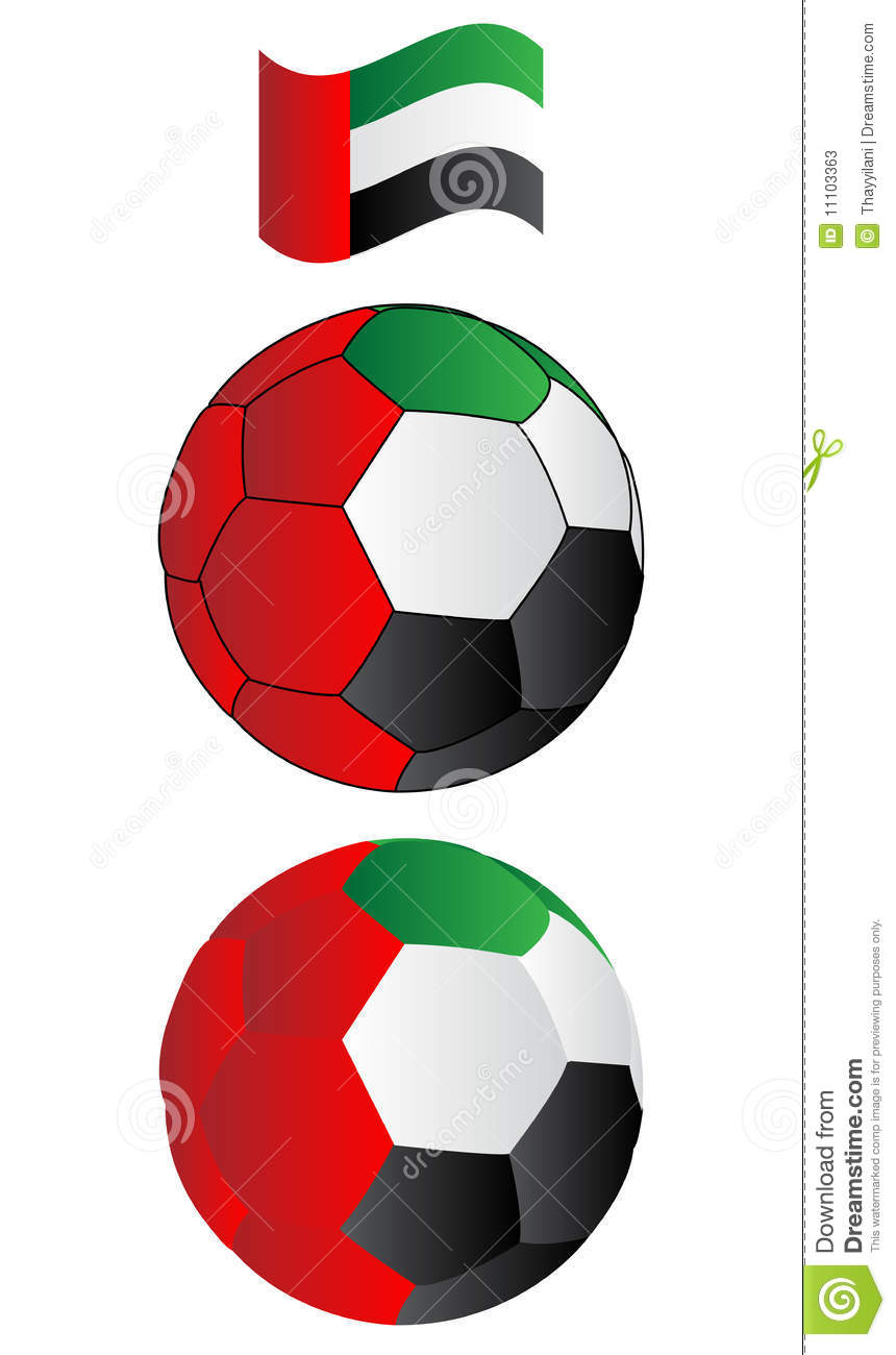 Soccer Ball Of UAE With Flying Flag Stock Photos - Image ...
