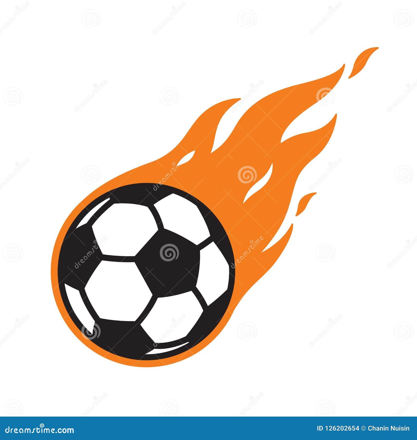 Soccer Ball Vector Logo Icon Football Fire Symbol Cartoon