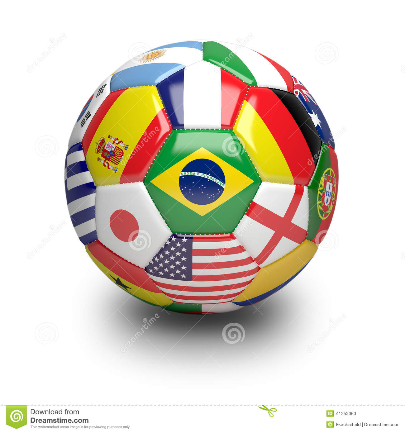 Football Soccer Ball With World Teams Flags Royalty-Free ...