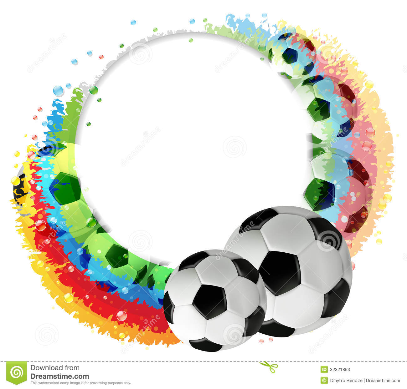Soccer Balls And Rainbow Stock Photos - Image: 32321853