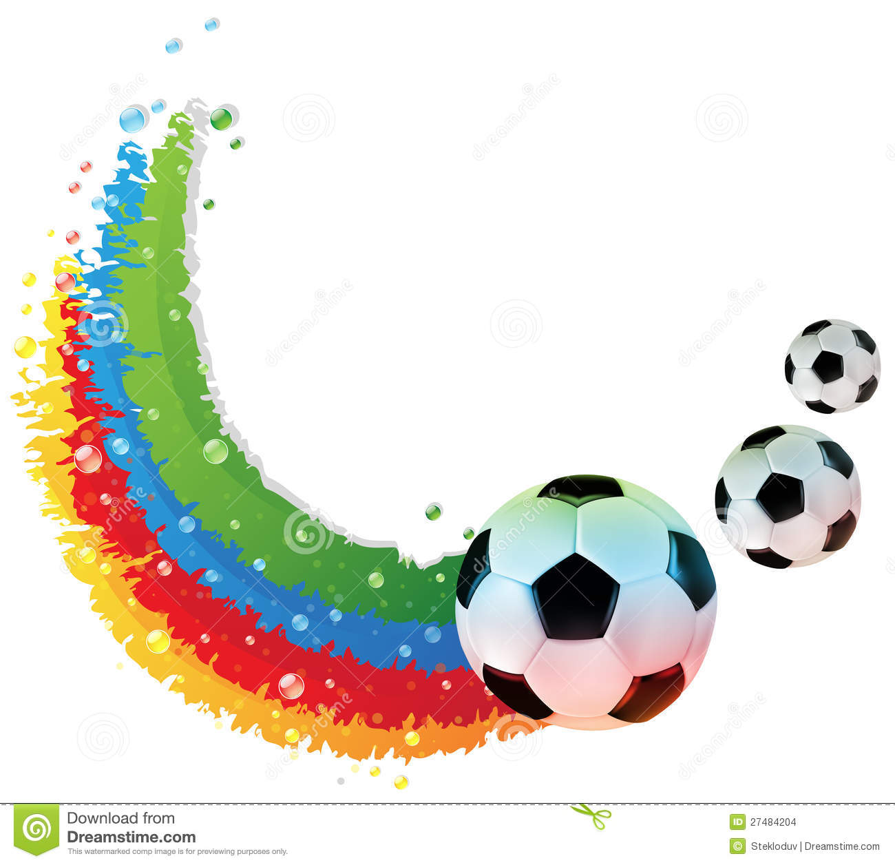 soccer balls and rainbow trail stock vector