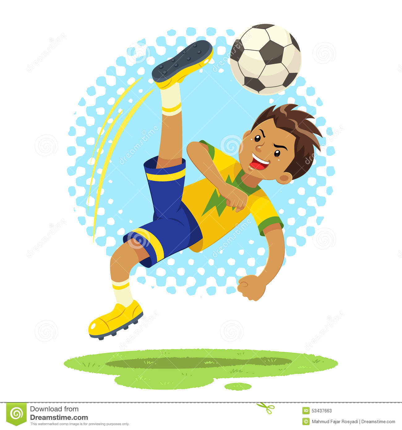 Soccer Boy Hit The Ball Using Bicycle Kick Technique Stock ...