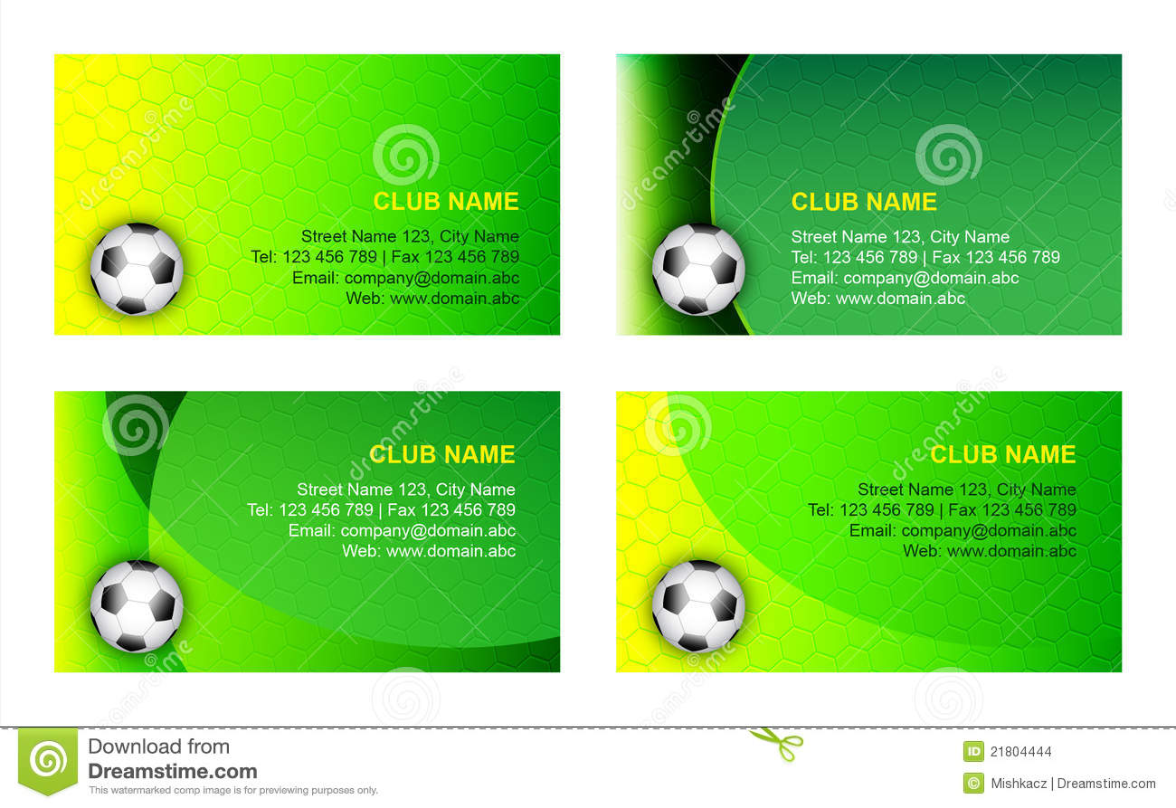 Soccer Business Card Background Template Stock Vector - Illustration ...