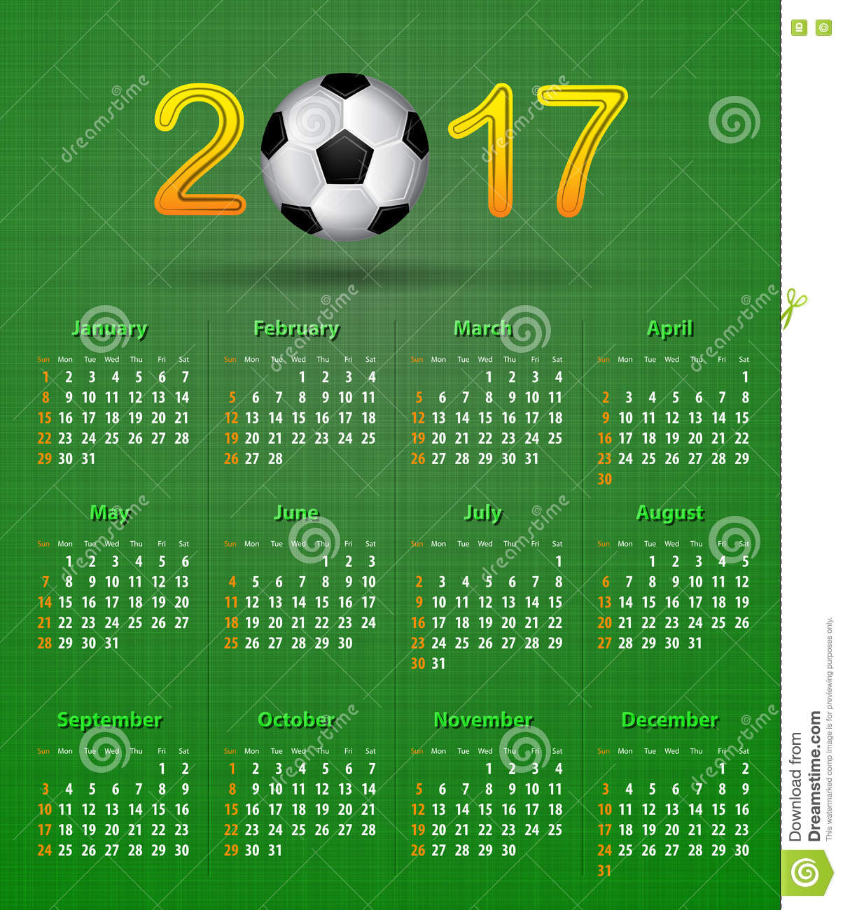 Calendario Sport.Soccer Calendar For 2017 On Green Linen Texture Stock Vector