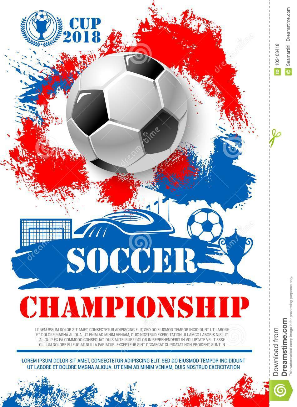 1b013c6e3 Soccer championship 2018 cup poster of football ball, goal gates at arena  stadium and winner golden goblet award. Vector design of champion victory  wreath ...