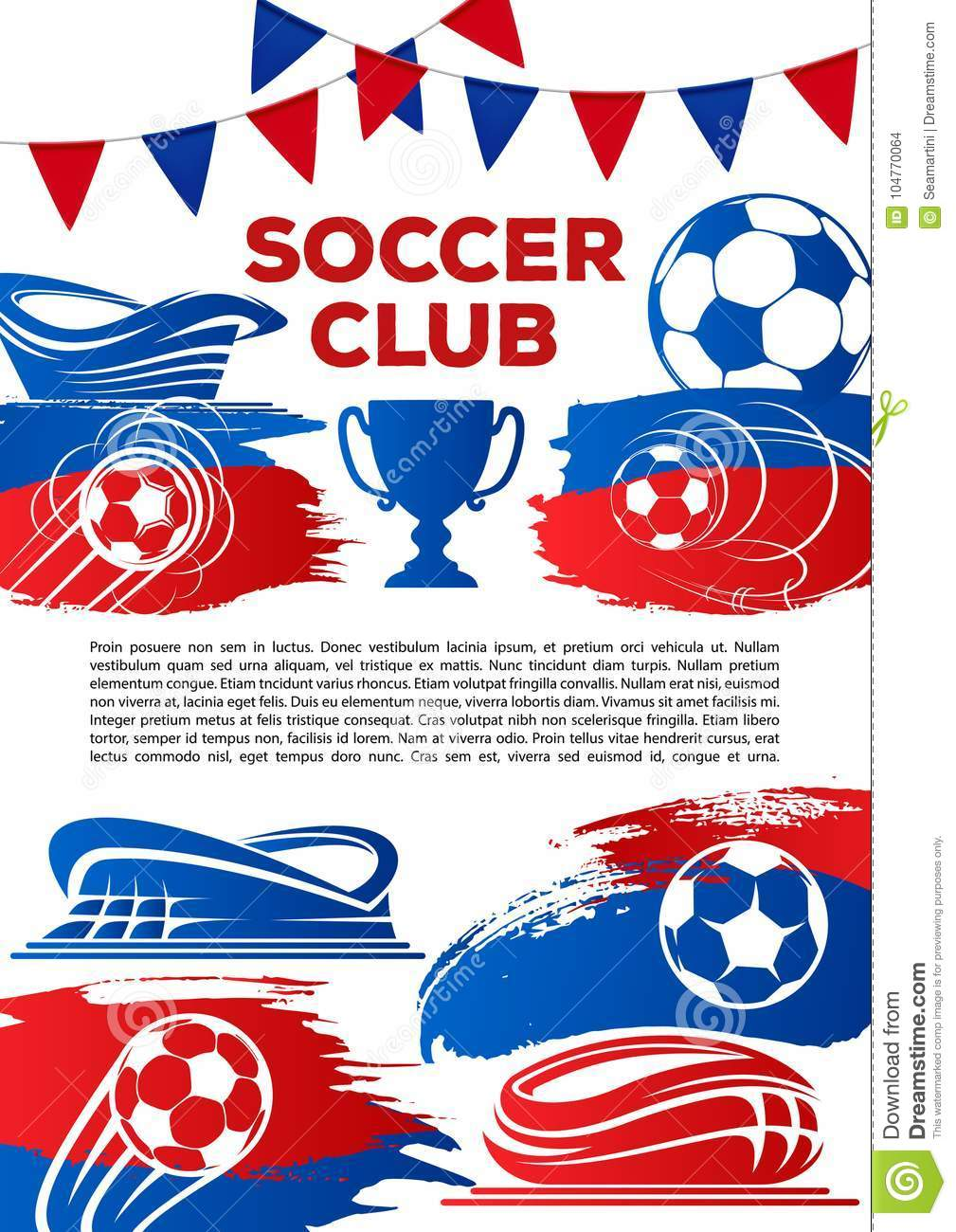 Soccer Club Poster Template For Football College League Tournament Game Vector Design Of Ball Winner Cup Award Goal Victory At Stadium