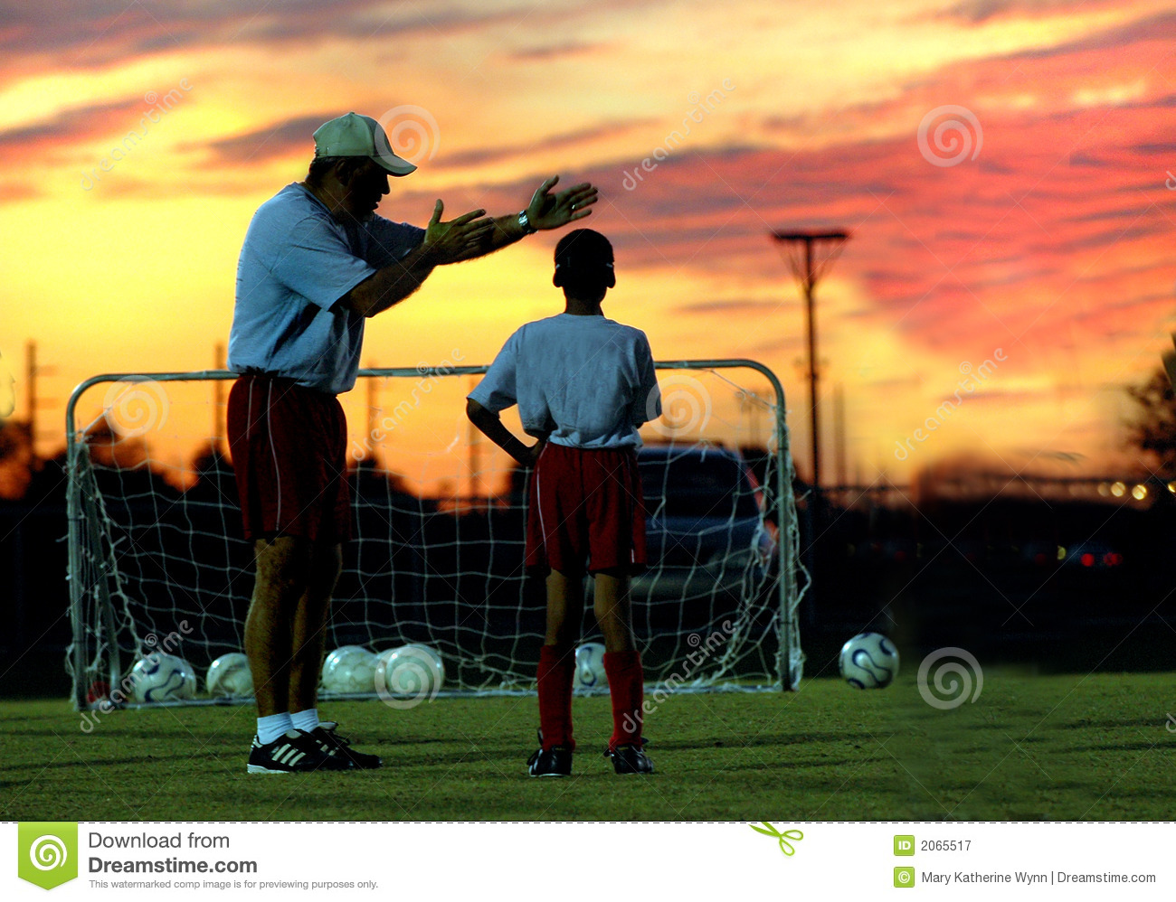 Soccer Coaching At Sunset Royalty Free Stock Photography - Image ...